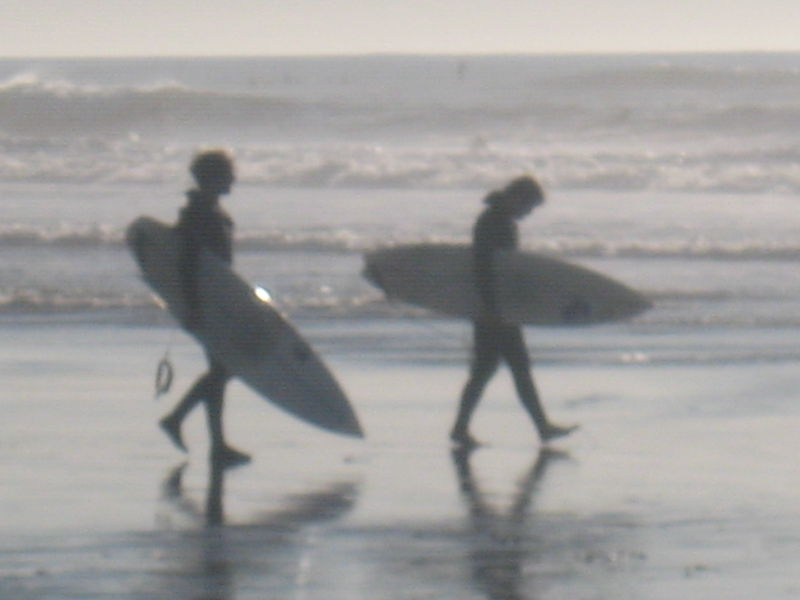 Surfers a and b in january, SF